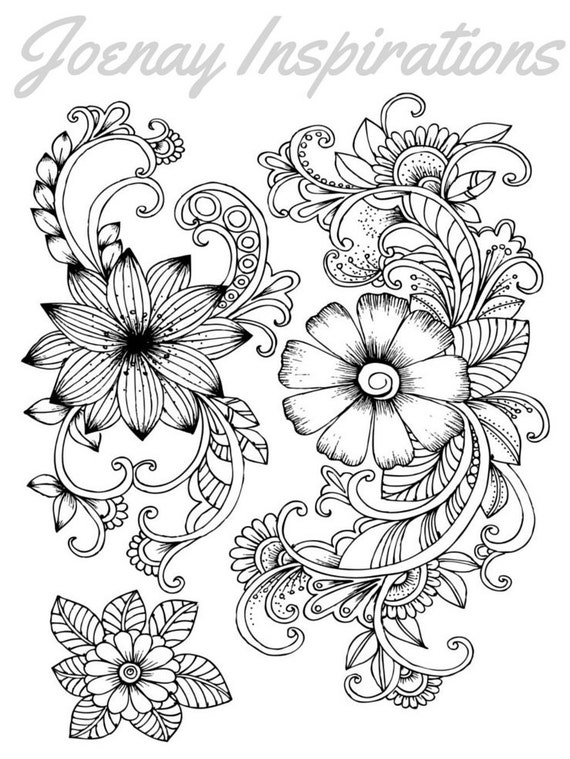 Adult Coloring Book, Printable Coloring Pages, Coloring Pages, Coloring Book for Adults, Instant Download, Fancy Flowers 1 page 4