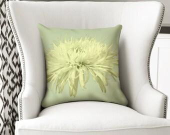 Lotus Flower, Throw Pillow, Green Pillow, Photo Pillow Cover, Photography Pillow, Flower Pillow, Black and White, 18x18