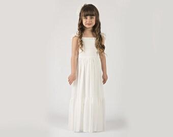 """Flower Girl Dress White -- The """"Rebekah"""" in White"""