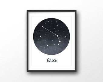 Aries print - Zodiac constellations print - Aries wall art - Constellation wall print - Printable gift for men- Printable zodiac