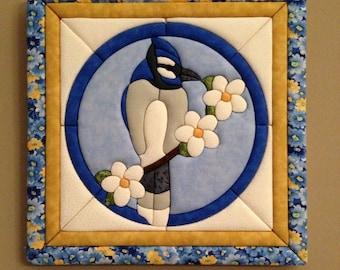 Blue Jay fabric wall art, room decor