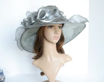 """New Kentucky Derby, Church, Wedding, Tea Party with Jumbo Ascot & Feather 5~6"""" Wide Brim Organza Hat ( Gray/Silver )"""