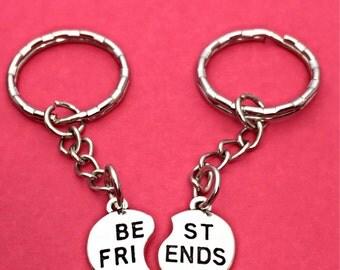 Valentine Gift 2 Best Friends  2 BFF Keychains BFF Keychain Set Of Two Best Friends Forever Keychain  2 best friends Gift  Best Friend BFF