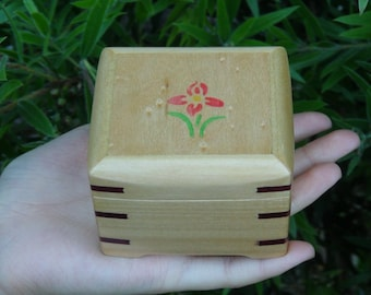 Coloured flower marquetry wooden ring box for your special occasion, personalise or custom made order available.