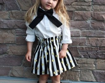 Girls Ruffle Skirt - girls skirt, cotton skirt, black white skirt, gold dot skirt, stripe skirt, polka dot skirt, party skirt