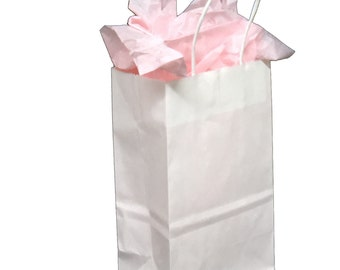 Pack 25 handled White paper bag,5.25x3.25x8.375,White gift bags,White shopping bags with handles,small paper gift bags,white paper bags