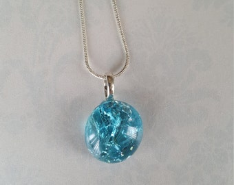 Baked Marble Necklace Fried Marble Pendant--AQUA