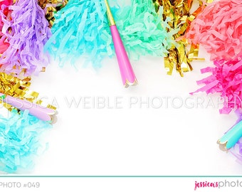 Party Streamers Styled Desktop, Garland Party Blowers, Styled Stock Photography, Party Styled Mockup, Product Background Photo, Gold, #49