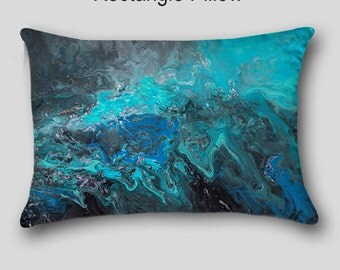 Decorative throw pillow, Designer, Abstract art, Accent, Teal turquoise blue black gray, Home decor, Cover Case, Upscale Sofa cushion, Couch