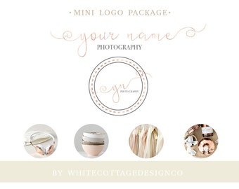 Rose gold pre made mini logo package-Photography logo-Business owner logo design