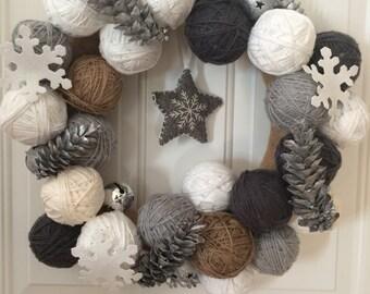 Winter Wreath, Yarn Ball Wreath, Christmas Wreath, Neutral Wreath
