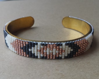 Bracelet white glass Pearl, dark grey and copper - miyuki Delica beads
