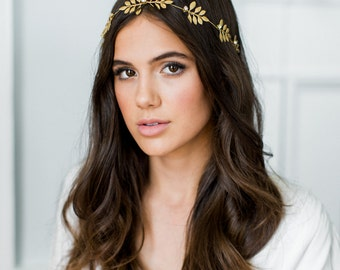 FIORE gold leaves hair vine, bohemian goddess headpiece, boho glam headband with crystals