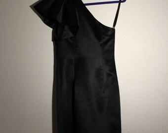 VTG Asymmetrical Black Satin Mini Dress