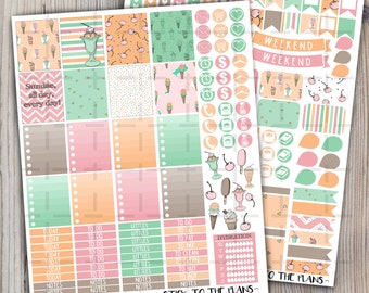 Ice Cream printable planner stickers Erin Condren planner stickers pink mint green brown summer sweet ice cream cone cherry sticker set