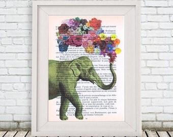 Christmas gift, happy everything, Fantasy Flower Elephant - Elephant print, Elephant illustration  elephant decor gift for elephant lover