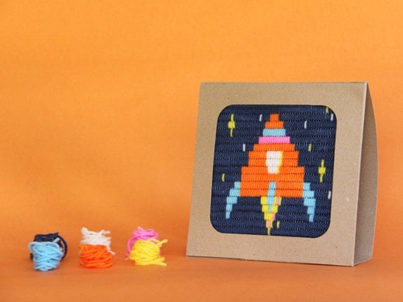 Rocket Ship Embroidery Kit For Kids Gift Kit Embroidery Kit