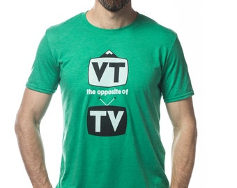 Grass Green Men's super soft t-shirt, VT the opposite of TV
