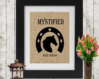 Horse Sign Custom Horse Sign w Horse Name and Est Date - Horse Burlap Sign - Personalized Horse Burlap Print -  Rustic Horse Decor - Burlap