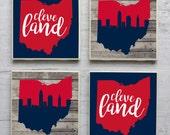 Cleveland Coasters, Cleveland Coaster, Cleveland Ohio, Cleveland Skyline, Cleveland Indians Coasters, Cleveland Art, Cleveland Indians, CLE