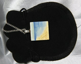 Hand Painted Scrabble Tile Necklace Pendant. Beach & Seascape Design.