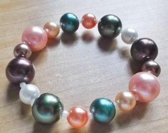 Multi-Color Pearls Stretch Bead BRACELET (Small Wrist)