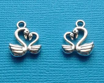 10 Swan Charms Silver - CS2420