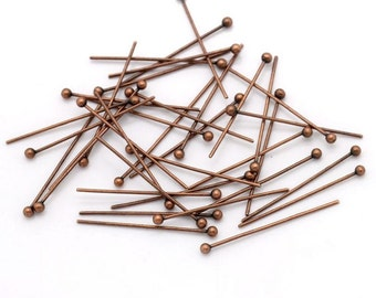 "1000 Piece Wholesale Lot Antique Bronze Ball Pins Head Pins Findings 20mm ( 6/8"") x 1.5mm Jewelry Findings Headpins for Earrings Beading"