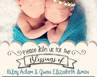 Baby Blessing Invite, LDS, Baby, Printable