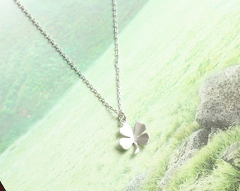 Four Leaf Clover Necklace, Symbol Necklace, Luck Necklace, Fortune Necklace, Tiny Necklace, Delicate Jewelry, Gift for Friends