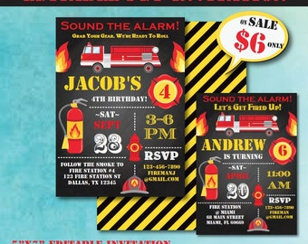 Fireman Birthday Invitation-Firetruck Birthday Invitate-Editable Firefighter Party Invite-Firetruck Party-First Birthday-Any Age-A104-TR