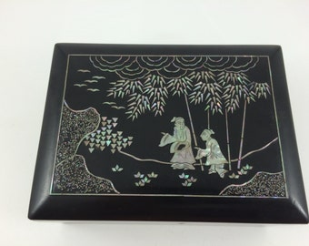 Antique Japanese Mother of Pearl Inlay Lacquer Box