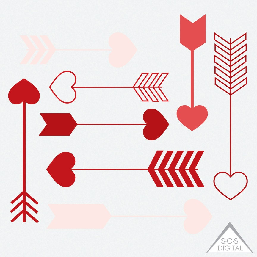 Red Heart Arrow Clipart Clipart Heart Arrows Valentine (864 x 864 Pixel)