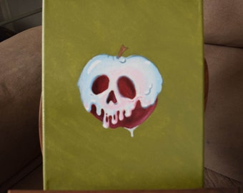 Snow White Poison Apple Original Acrylic Canvas Painting 10x8 inches