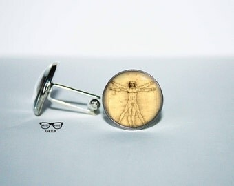 Leonardo Da Vinci Cufflinks, Vitruvian man Cuff links, L'Uomo Vitruviano  cuff, Gift  for Her,  human proportions for him