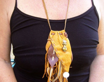 Handmade Leather Necklace, Ethnic and Tribal Jewelry, Leather Tassle Necklace, Colombian Feather Necklace, Native American Tassle Necklace
