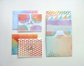 Rainbow Watercolors Stationery Set with Calligraphy Hello Stamp - Handmade - A2 - Blank inside - Set of 8