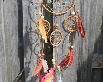 Small Dream Catcher: Cream/Tan/Green/Teal/Purple