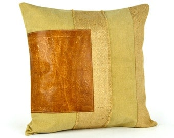 Leather throw pillow Etsy