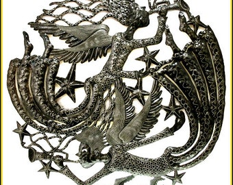 "Metal Art, Angel Metal Wall Hanging - Metal Wall Art - 34"" - Haitian Art - Steel Drum Art  Metal Art of Haiti -3011-34"