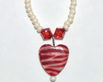Zebra heart beaded necklace