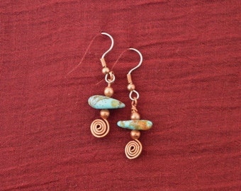 Infinity Swirl earrings in copper and turquoise