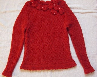 Hand knit elegant red woman sweater for winter/autumn