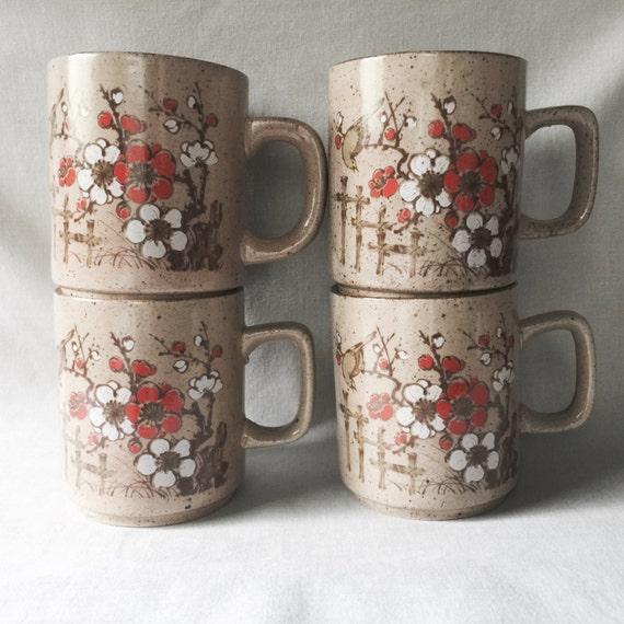 Taupe Mug Set // Floral Mug Set // Floral Mug Set // Floral Kitchen //  Floral Home Decor // Vintage Kitchen Decor // Coffee Mug Set (D1)