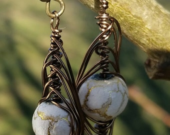 Wire Wrapped Herringbone Handmade Earrings