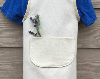 Child's organic canvas pinafore apron, cross-back apron, kids apron, Childs preschool apron, organic childs apron
