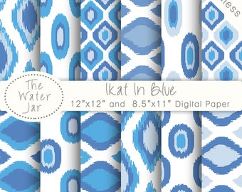 Ikat Digital Paper Commercial Use, Blue Digital Paper Ikat Pattern Pack, Seamless Ikat Printable Paper, Ikat Scrapbooking paper pack,