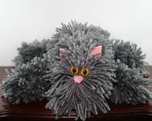 Gray Yarn Cat Collectible, Grey Yarn Kitty with Yellow Cat Eyes, Handmade Yarn Pom Pom Cat, Stuffed Animal Alternative
