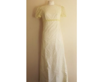 40% OFF!!! 70s White and Yellow Summer Two-Layer Maxi Dress with Capped Sleeves and Floral Waistband - Size S