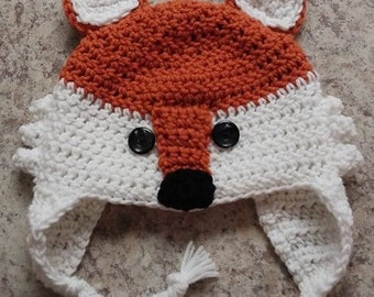 Fox hat with ear flaps *READY TO SHIP*